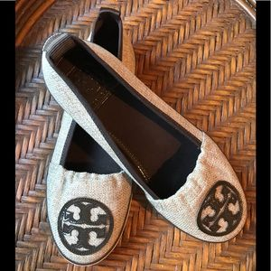 Tory Burch Beige Canvas Shoe w/ Brown Leather Trim